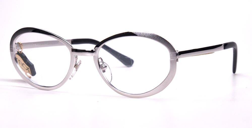 60er Jahre Brillengestell ovale Form in silber,