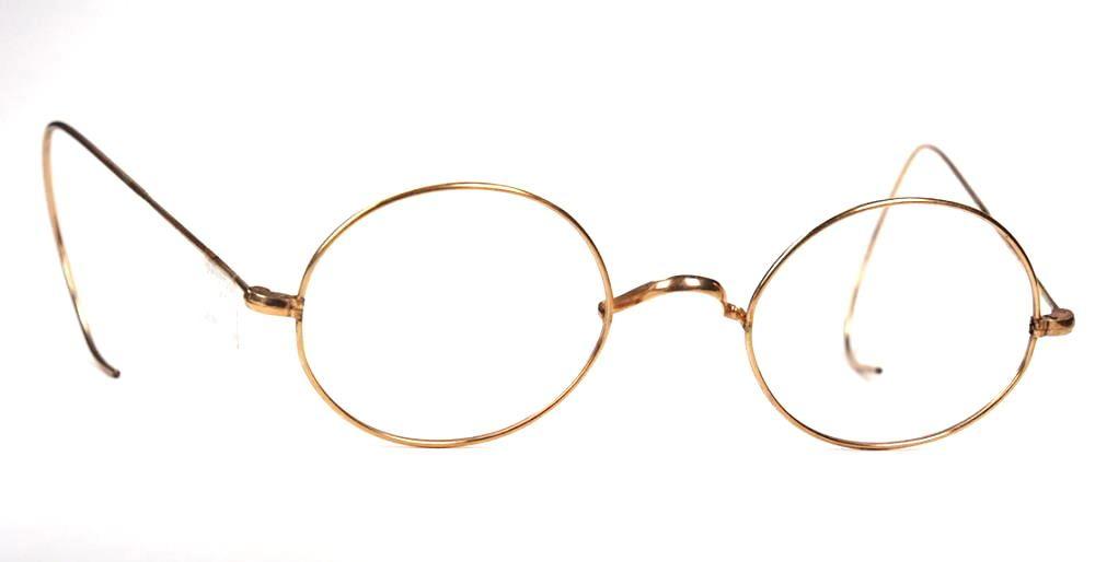 Ovale Golddouble Brille mit Gespinstbügeln