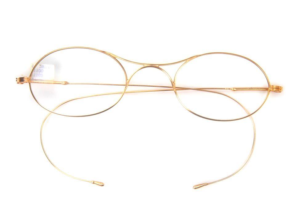 Ovale Brille mit Brezelsteg vergoldet, hergestellt um 1900. Fabrikneu aus aus dem Film Anna Karenina