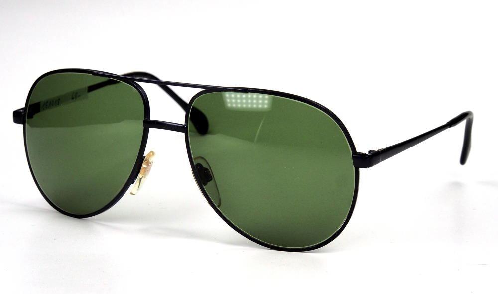 Vintage Sonnenbrille Pilotenform schwarz mit grünen Gläsern 100% UV Schutz