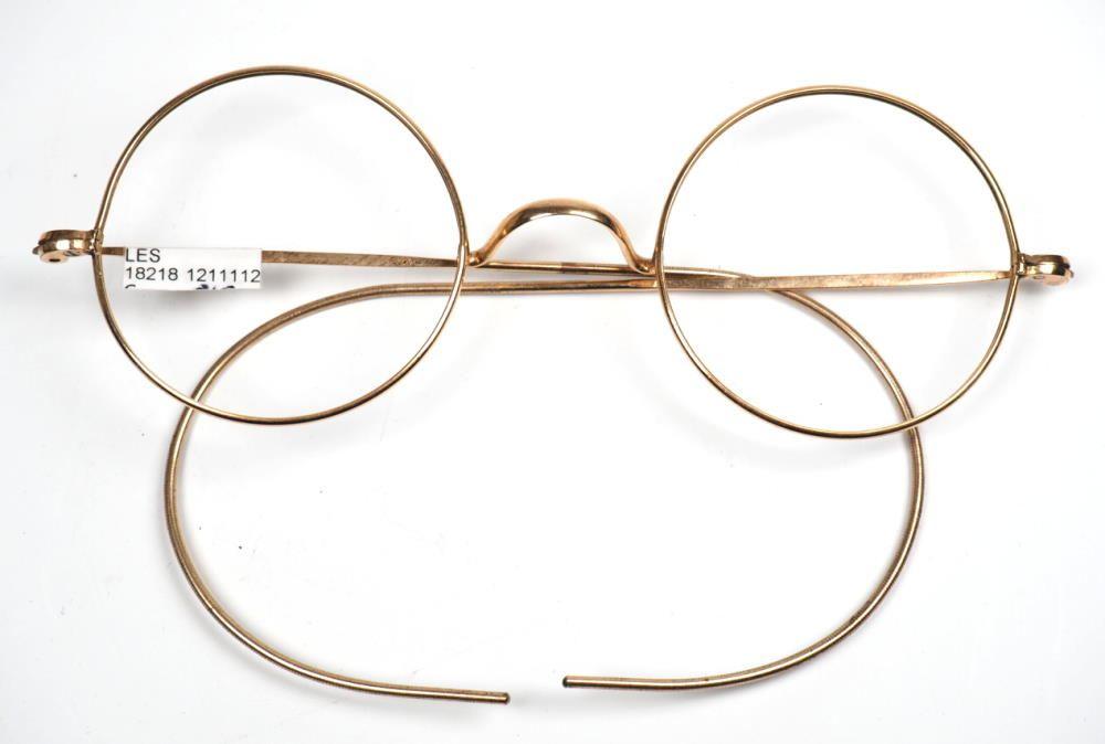 runde Golddouble Brille 14 Karat mit W-Steg und Comfortbügeln