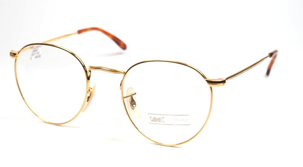 Panto Brille gldfarben aus Metall absolute Trentbrille, sehr aktuell, Pantobrille normale Größe