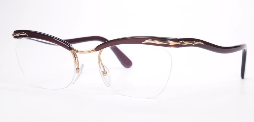 Echte 60er Jahre original Nylor Brille von ESSEL Franreich, unten randlos mit Nylorfaden
