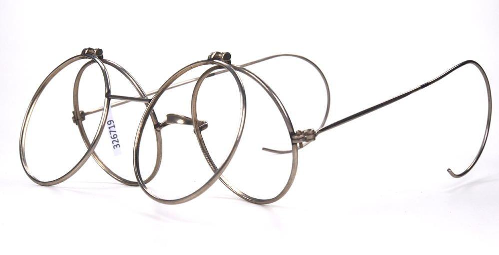 Runde Nickelbrille mit vor-und hochklappbarem Rahmen für Zweitgläser