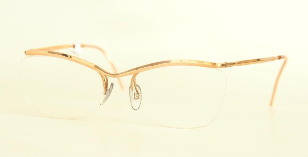 Echte  50er Jahre Nylorbrille Schmetterlingsbrille randlos