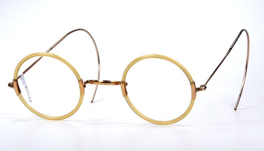 Antike, runde, wertvolle Brille aus Golddouble aus den 30er Jahren