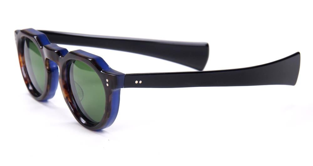 Vintage-Sonnenbrille der 40er Jahre,  schwarz auf blau 422519