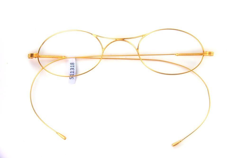 Ovale Brille mit Brezelsteg vergoldet, hergestellt um 1900. fabrikneu, Schiubertbrille