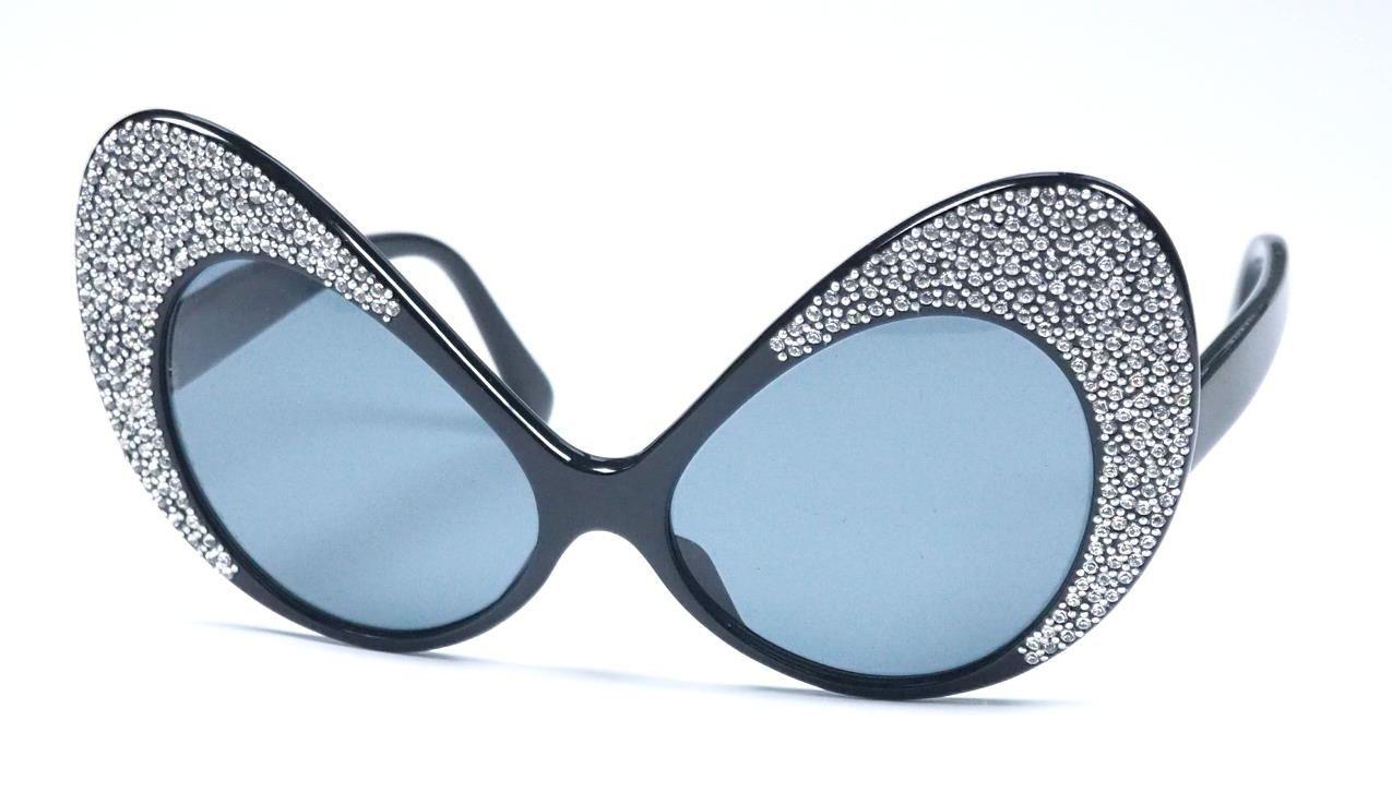 Cateye Schmetterlingsbrille mit Strass besezt. Einzelstück aus den 80er Jahren 915816 Sondermodell