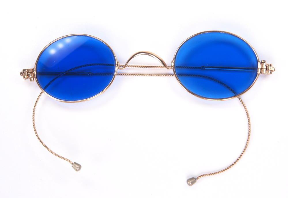 Antikbrille oval, gold mit  sehr seltenen kobaltblauen Plangläsern