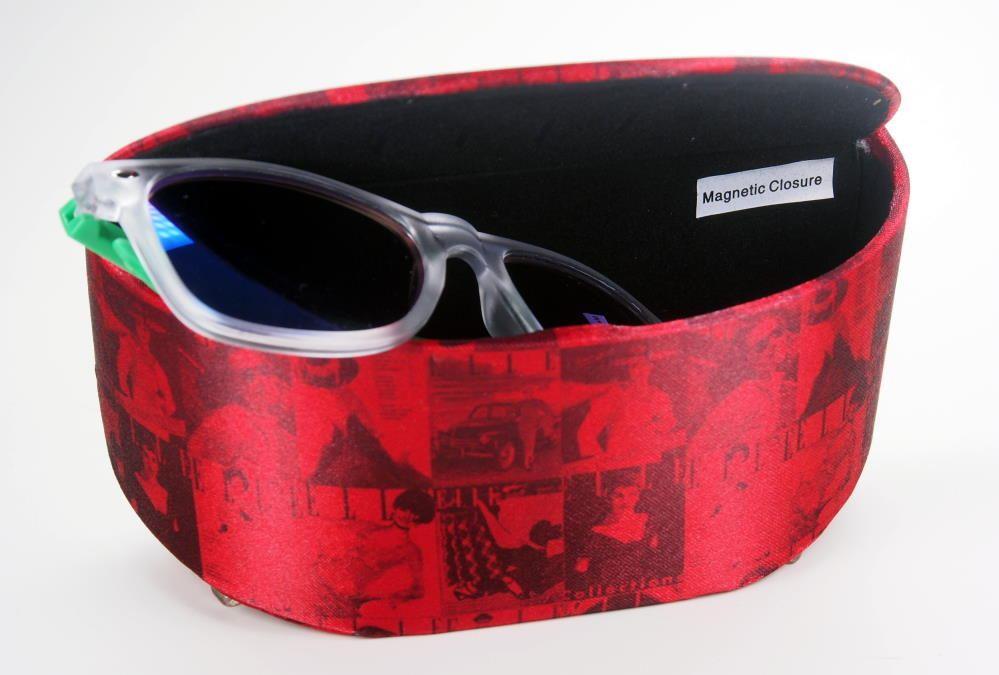 Brillenetui von Elle, groß, auch für Sonnenbrillen, hart, mit Magnetverschluss,.rot
