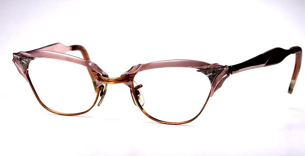 Cateye Brille, Schmetterlingsbrille aus den 50er Jahren aus Aluminium