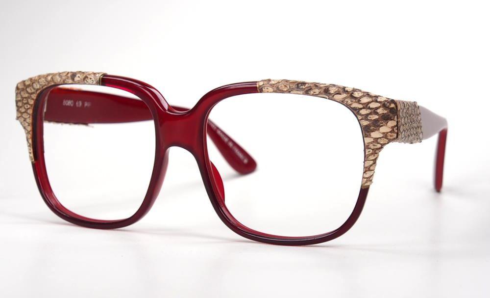 Emmanuelle Khanh Vintagebrille mit Schlangenleder, original Vintage Brille der 70er Jahre