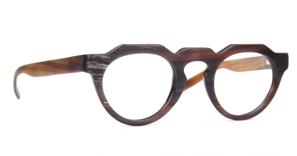 Hornbrille, Echte Büffelhornbrille Pantoform mit Federscharnier 5318