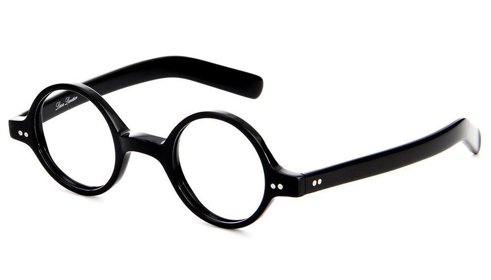 Lesca Lunettes P 60 runde Brille, schwarz