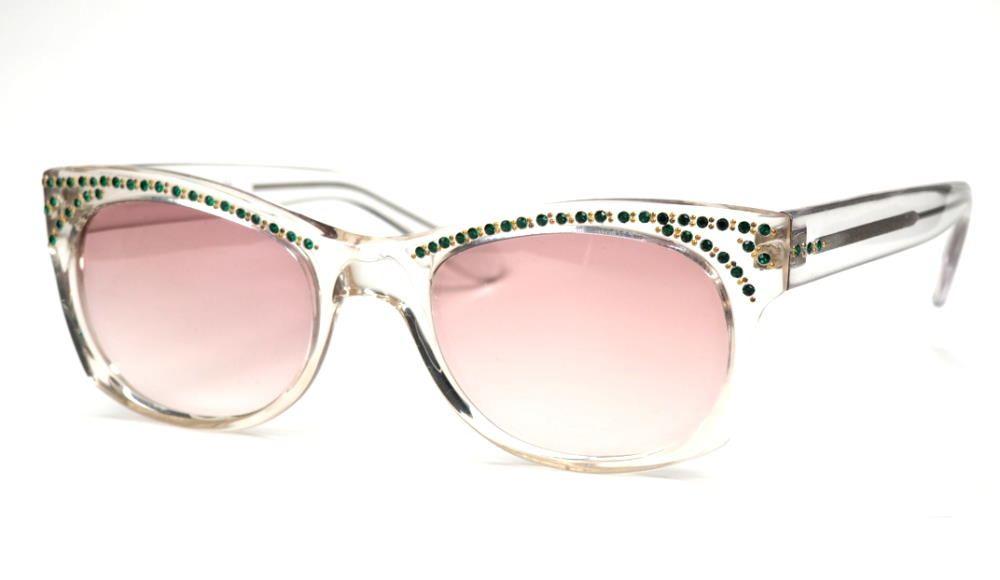 Vintage Sonnenbrille aus den 80er Jahren wasserhell mit grünen Straßsteinchen