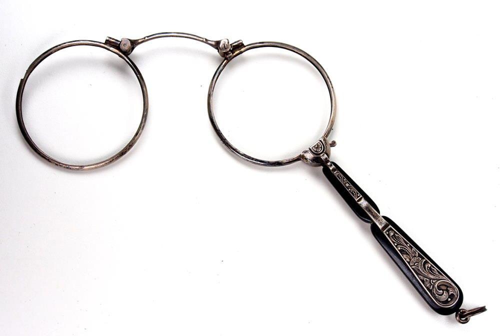 Lorgnette, Lorgnong, Vorhalten, original antik, Springlorgnette, Antikbrille, wie aus den 20er Jahren