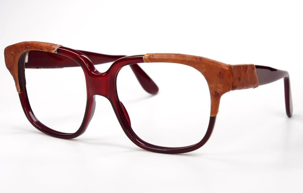 Emmanuelle Khanh Vintagebrille mit Straußenleder original Vintage Brille der 70er Jahre