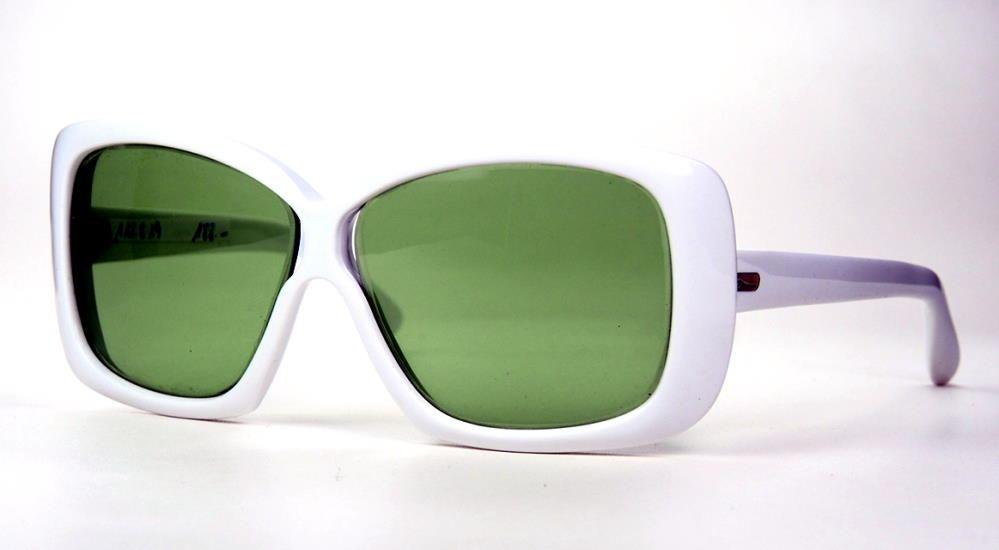 Vintage weiße Sonnenbrille  80er Jahre Sonnenbrille mit grünen Gläsern