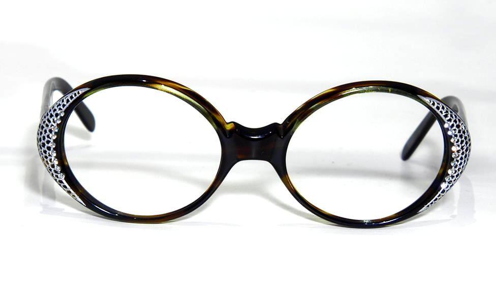 Strassstein besezte, runde schwarze Brille 11978 der 70er Jahre aus Acetat
