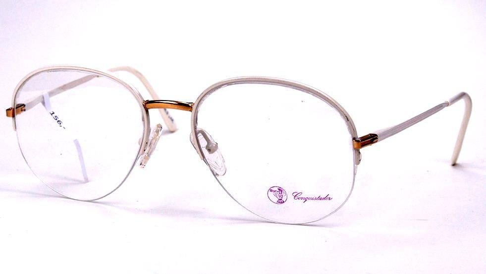 Vintage Damenbrille, original der 80er Jahre weißer Rand mit goldenem Steg