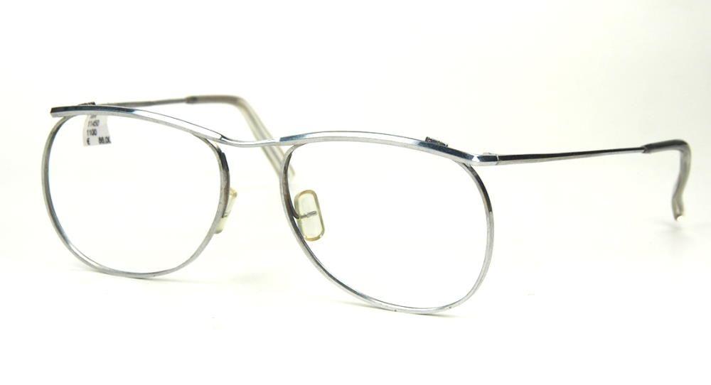 Kultbrille der 70er Jahre, große Herrenmetallbrille silberfarben