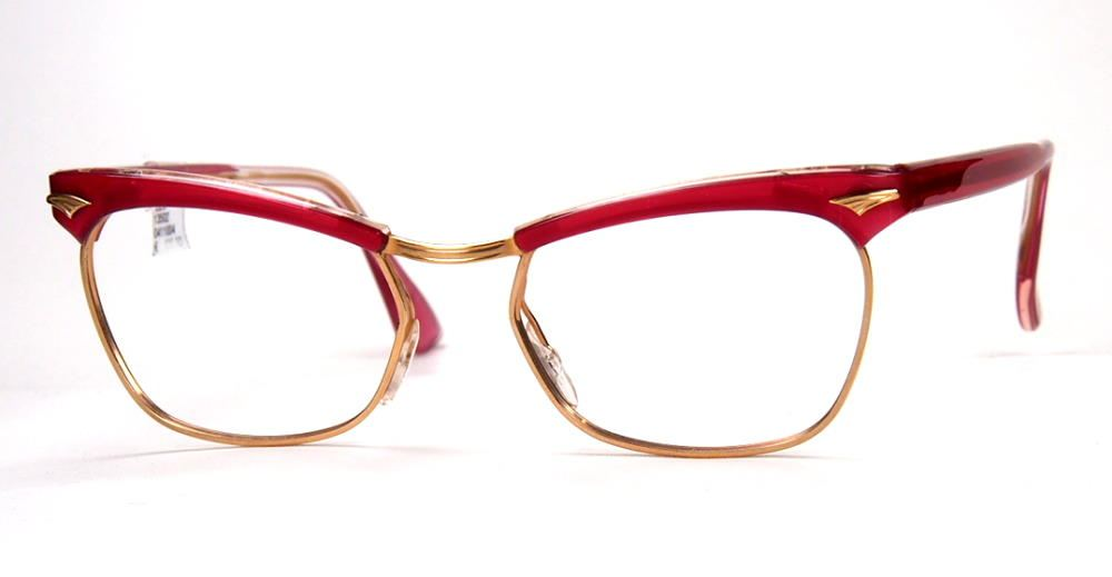 Ku´damm 59  Cateye Brille 13502 der 60er aus Golddouble in rot