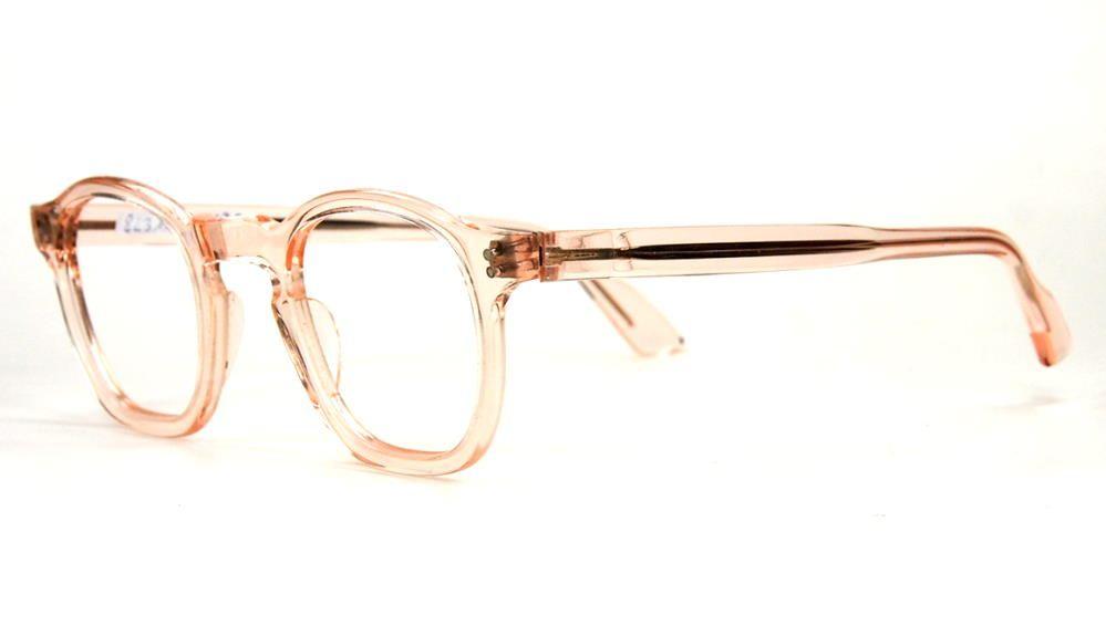 30er Jahre Brille aus Acetat, noch fabrikneu,  transparentrosé Material