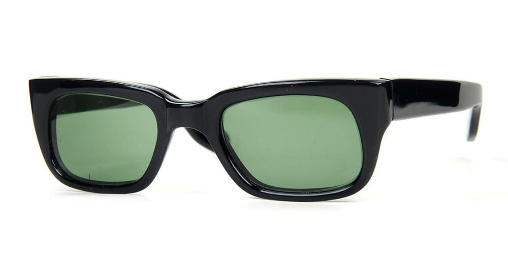 Rockabille Vintage Sonnenbrille schwarz mit graugrünen Kunststoffgläsern 100% UV-Schutz