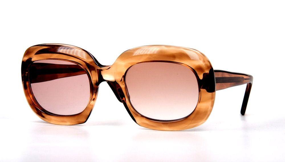 Original Vintagebrille der 50er Jahre aus hellbraunem Baumwollacetat,