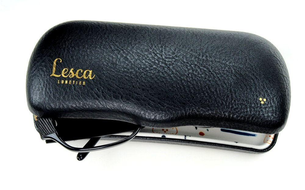Brillenetui Lesca Hartschalenetui für große Brillen und Sonnenbrillen mit Microfasertuch,