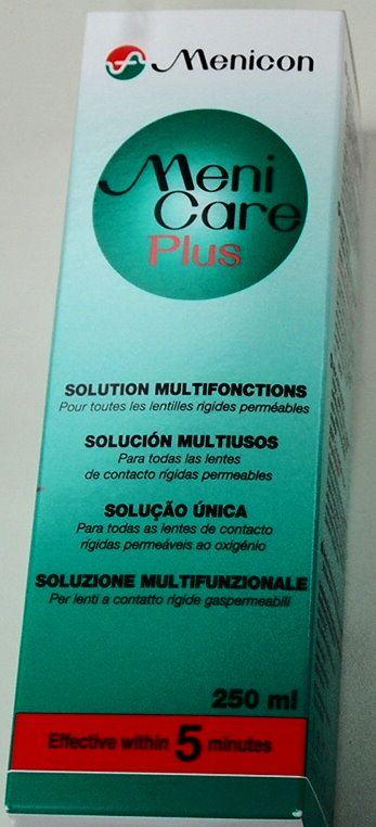 MeniCare Plus 250ml Multifunktionslösung, mit kostenlosem Aufbewahrungsbehälter.