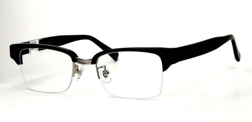 Rockabilly Vintagebrille, oben schwarz unten randlos
