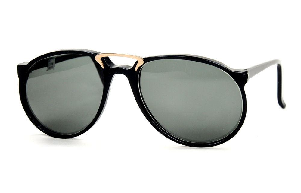 Vintage Sonnenbrille große Form mit Doppelsteg schwarz