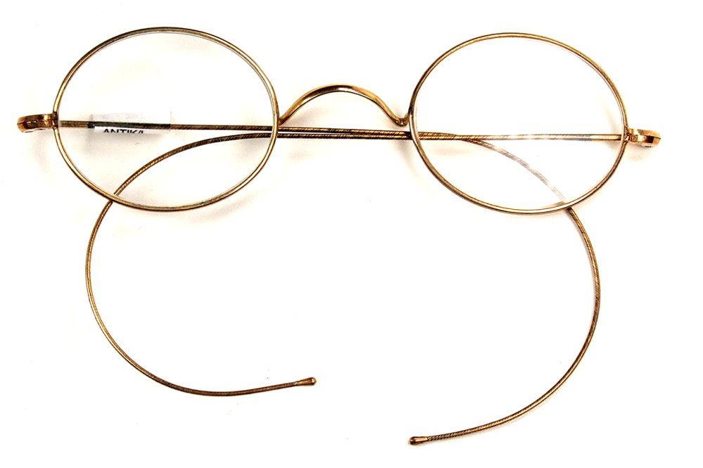 Ovale Golddouble Brille mit Gespinstbügeln und optischen Gläsern