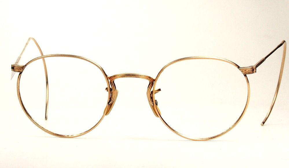 Pantobrille, Antikbrille mit Gespinstbügel aus den 30er Jahren 12 Karat