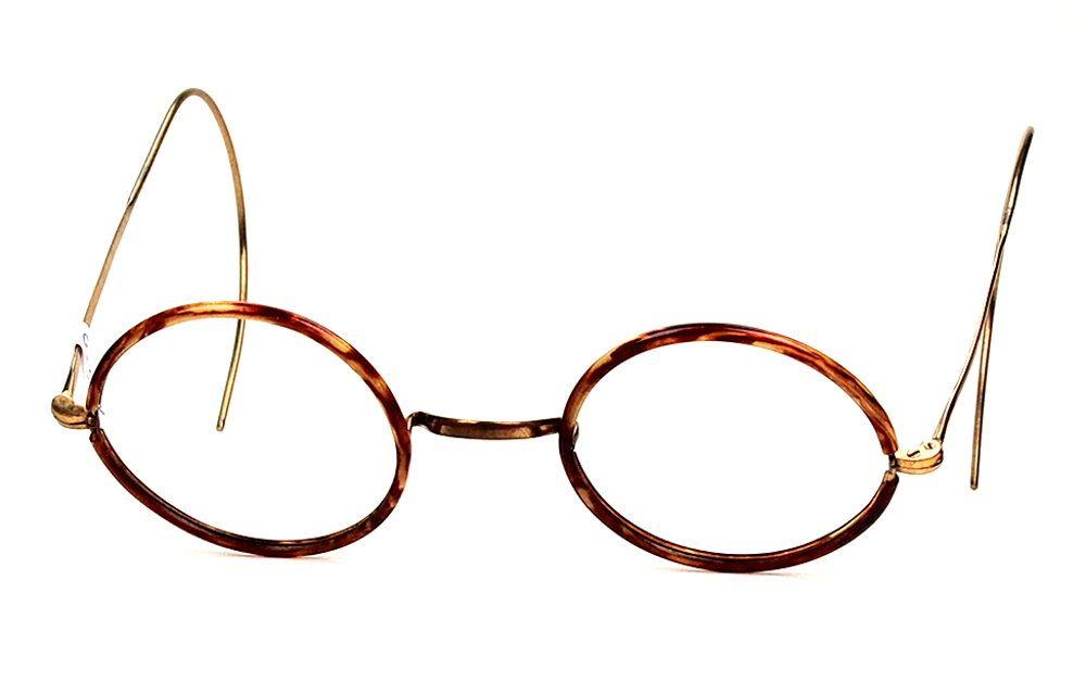 Runde Golddouble Brille mit Winsorrändern und Federbügeln