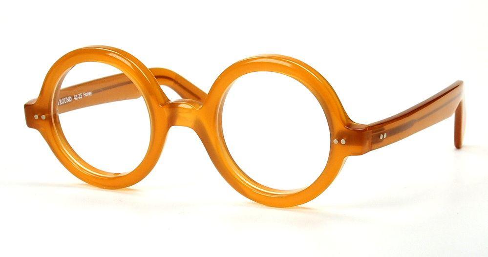 Runde Vintagebrille honigfarben, Made in Itali