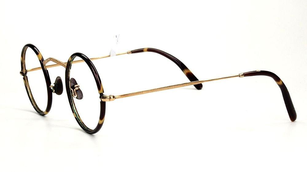 Runde Golddouble Brille 14 Karat mit Winsorrändern